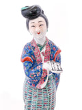 20th Century Colorful Hand Painted Lady Reading Chinese Figurine Sculpture Front Close Up