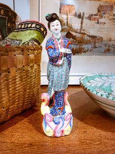 20th Century Colorful Hand Painted Lady Reading Chinese Figurine Sculpture