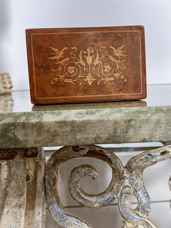 Vintage Decorative Wooden Three Sectioned Stamp Box Made in Italy