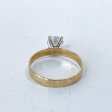 Classic 10K Yellow Gold 4 Prong Solitaire Sparkling CZ Engagement Ring Bottom