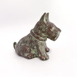 Vintage Cast Metal Seated Scottish Terrier Pen Holder Dog Figurine Profile