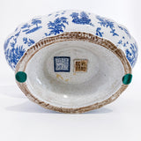 20th Century Blue & White Decorated Footed Oval Chinese Ceramic Bowl Bottom