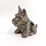 Vintage Cast Metal Seated Scottish Terrier Pen Holder Dog Figurine Slightly Angled