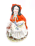 19th Century Antique Staffordshire Little Red Riding Hood Figure English Sculpture Front From Above