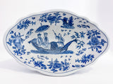 20th Century Blue & White Decorated Footed Oval Chinese Ceramic Bowl Inside