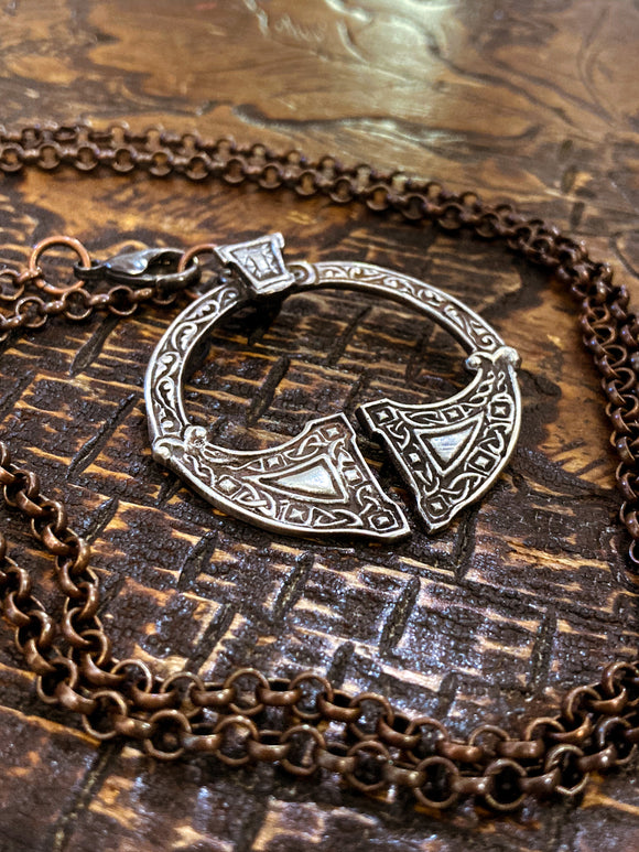 Red I Collection Vintage Celtic Silver Pendant Copper Chain Necklace