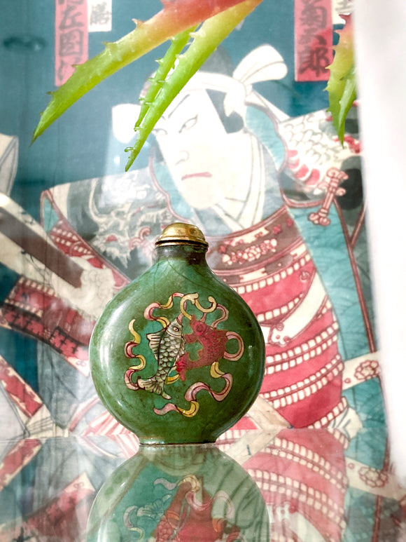 20th Century Feng Shui Koi Mystic Knot Chinese Green Enamel Snuff Bottle