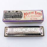 Vintage 1969 Marine Band M. Horner Harmonica C Key Musical Instrument Back of Harmonica