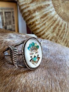Vintage Zuni Sterling Silver Mother of Pearl Stone Inlay Bracelet Cuff