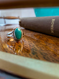 Vintage Scalloped Sterling Silver Aqua Agate Oval Stone Artsy Ring
