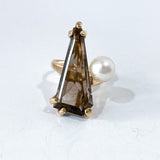 Vintage MCM 14K Yellow Gold Smokey Quartz Cultured Pearl Abstract Ring Front