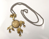 Vintage 1970s Antique Denmark Coins Silver Gold Toned Pendant Necklace Full