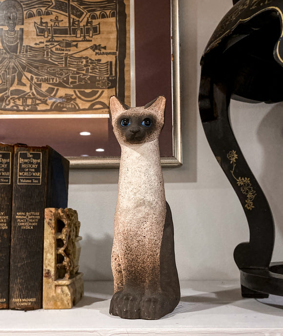 Ceramic Siamese Cat Sculpture by Artist Dane Burr, Cleveland, Ohio (1925 - 2013)