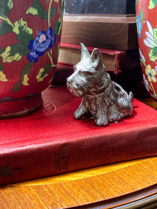 Vintage Cast Metal Seated Scottish Terrier Pen Holder Dog Figurine