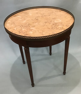 A Vintage Louis XVI Style Marble Top Boulliet Table, circa 1960's Possibly French
