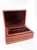 Vintage Tooled Gold Decorated Tan Leather Italian Velvet Jewelry Box Inside