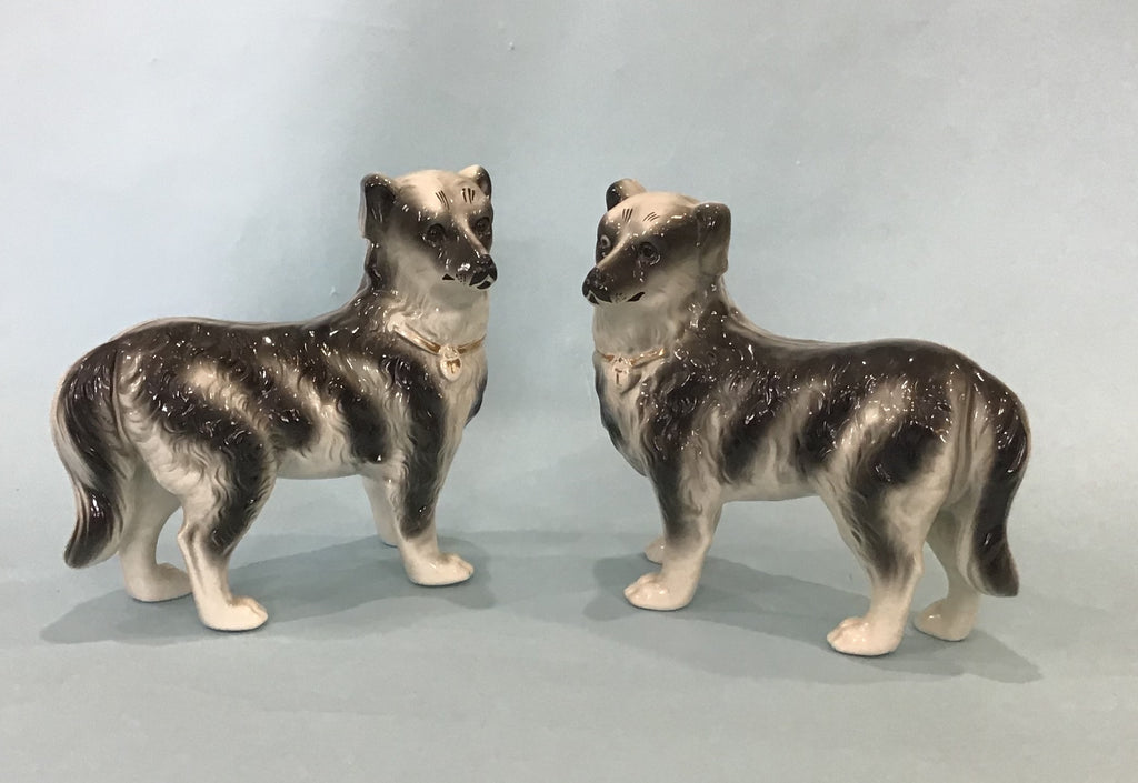 A Pair of Staffordshire Standing Spaniels, English 19th Century