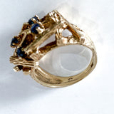 Vintage 14K Yellow Gold Blue Sapphire Egg Nest Wood Textured Art Ring