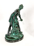 Antique Bronze Bernini's David Mounted Marble Base Figure Sculpture Back