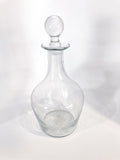 Antique Hand Blown Large Clear Glass Round Topper Decanter Barware Front 2