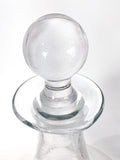 Antique Hand Blown Large Clear Glass Round Topper Decanter Barware Topper Close Up