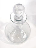 Antique Hand Blown Large Clear Glass Round Topper Decanter Barware Slightly Above