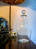 Antique Hand Blown Large Clear Glass Round Topper Decanter Barware