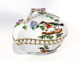 Vintage Herend Rothschild Style Floral Branch Bird Heart Shaped Porcelain Box Side 5