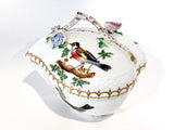 Vintage Herend Rothschild Style Floral Branch Bird Heart Shaped Porcelain Box Side 1