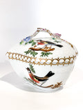Vintage Herend Rothschild Style Floral Branch Bird Heart Shaped Porcelain Box Side 2