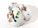 Vintage Herend Rothschild Style Floral Branch Bird Heart Shaped Porcelain Box Close Up Branch Handle