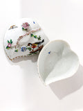 Vintage Herend Rothschild Style Floral Branch Bird Heart Shaped Porcelain Box Open Box