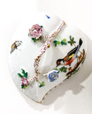 Vintage Herend Rothschild Style Floral Branch Bird Heart Shaped Porcelain Box Top of Lid
