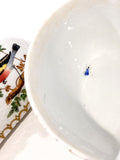Vintage Herend Rothschild Style Floral Branch Bird Heart Shaped Porcelain Box Close Up Insect Inside
