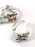 Vintage Herend Rothschild Style Floral Branch Bird Heart Shaped Porcelain Box Bottom