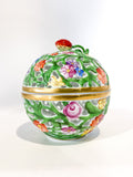 Herend Hand Painted Openwork Sphere Strawberry Vine Porcelain Box Side 1