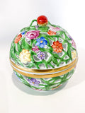 Herend Hand Painted Openwork Sphere Strawberry Vine Porcelain Box Side 3