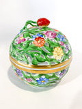 Herend Hand Painted Openwork Sphere Strawberry Vine Porcelain Box Side 4