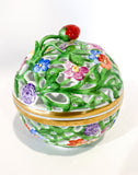 Herend Hand Painted Openwork Sphere Strawberry Vine Porcelain Box Side 5