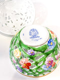 Herend Hand Painted Openwork Sphere Strawberry Vine Porcelain Box Bottom