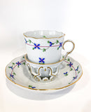 Herend Blue Floral Garland Pattern Porcelain Trembleuse Cup & Saucer Side 1