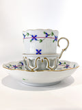 Herend Blue Floral Garland Pattern Porcelain Trembleuse Cup & Saucer Side 2