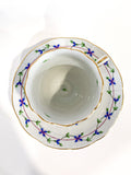 Herend Blue Floral Garland Pattern Porcelain Trembleuse Cup & Saucer From Above