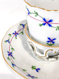 Herend Blue Floral Garland Pattern Porcelain Trembleuse Cup & Saucer Close Up Detailing