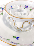Herend Blue Floral Garland Pattern Porcelain Trembleuse Cup & Saucer Saucer Close Up