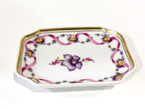 Vintage Richard Ginori Floral Purple Gold Small Porcelain Italian Dish Side 1