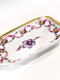 Vintage Richard Ginori Floral Purple Gold Small Porcelain Italian Dish Side 2