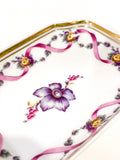 Vintage Richard Ginori Floral Purple Gold Small Porcelain Italian Dish Close Up Flower