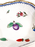 Vintage Richard Ginori Plum Floral Porcelain Italian Small Square Dish Close Up Painting