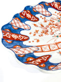Antique Imari Floral Motif Shell Shaped Japanese Porcelain Dish Tray Close Up Scalloped Edges